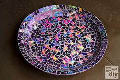 ❥ Mosaic Broken CD Tile Birdbath
