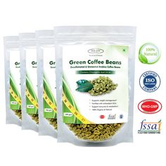 Sinew Nutrition Green Coffee Beans Decaffeinated & Unroasted Arabica Coffee – 200gm (Pack of 4) for weight management