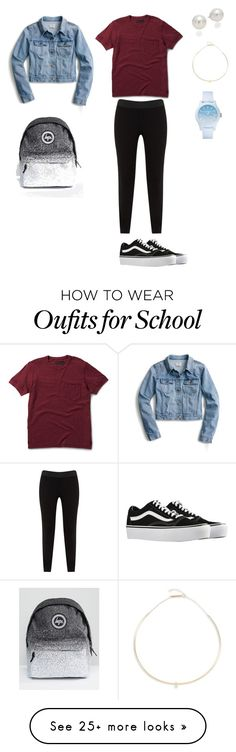 """Casual for school"" by lucemoulin on Polyvore featuring J.Crew, Dr. Martens, JunaRose, Vans, Hype, AK Anne Klein, Lacoste and Zoë Chicco"