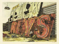 Illustration/Design: Jessica Seamans & Dan Black  Black Keys gig poster art print