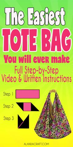 Origami Bag Tutorial: Easy to Make Market Tote Bag - A super easy bag to make AND it is fully lined. An easy sewing project. Makes great Christmas or Birthday sewing gifts. sew einfach clothes crafts for beginners ideas projects room Easy Sewing Projects, Sewing Projects For Beginners, Sewing Hacks, Sewing Tutorials, Sewing Crafts, Sewing Tips, Bags Sewing, Tote Bag Tutorials, Sewing Clothes