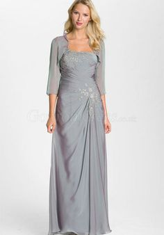 gray chiffon column with A Wrap long Mother of the Bride Dress - Gopromdress.co.uk