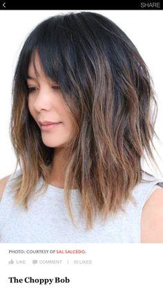 Asymmetrical cut w bangs