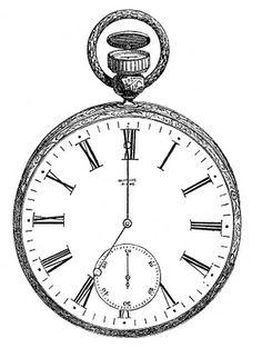 Vintage Clip Art - Antique Pocket Watch - The Graphics Fairy