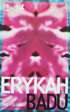 Original concert poster for Erykah Badu at the Fillmore in San Francisco. 12x19 on card stock. Art by Lynne Porterfield.