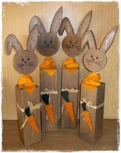 Brittas Kreativstübchen: Holzpfosten Osterhasen
