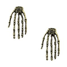 Antique Bronze Skeleton Hand Ear Studs ($3.99) ❤ liked on Polyvore featuring jewelry, earrings, punk earrings, bronze earrings, earring jewelry, antique earrings and skeleton jewelry