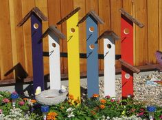 garden ideas art birdhouse trellis fence colorful, diy, fences, gardening, repurposing upcycling