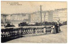 BONITA POSTAL - LA CORUÑA - CALLE DEL PARROTE - Foto 1 Paris Skyline, Antiques, Painting, Travel, Vintage Postcards, Antique Photos, Rain Pictures, Hotels, Street