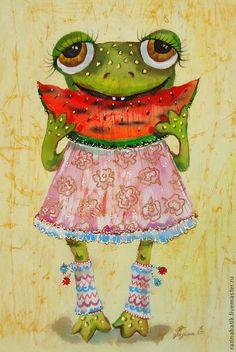 "Лягуха ""Любительница арбузов"" (батик панно) - лягушка,деньги,картина,Батик"
