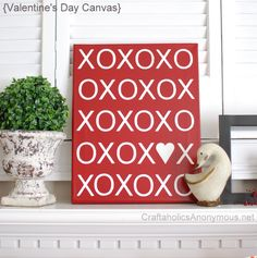 All you need is a Canvas, pain, vinyl cut outs for  a cue easy craft, get the full details at Craftaholics Anonymous.