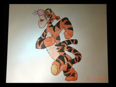 SALE Tigger original signed watercolor by Nicoinstitches on Etsy, $4.99