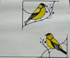 Finch bird / stained glass window corner/