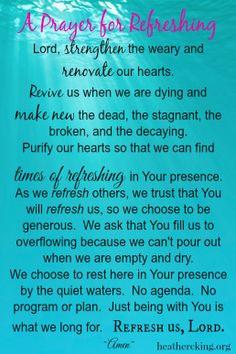 Prayer for refreshing