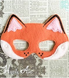 Fox Mask ITH Embroidery Design Felt Mask Embroidery Designs