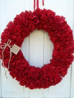 Red Ruffled Burlap Wreath