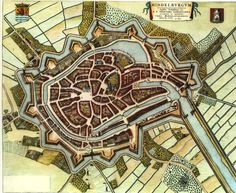 Old antique map - bird's-eye view plan of Middelburg by J. Old Maps, Antique Maps, Star Fort, Medieval World, Map Globe, Mystery Of History, Fantasy Rpg, City Maps, Historical Maps