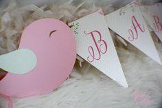 Baby Bird Bunting Banner | Baby Shower | Birdy | Garden | Leaves | Spring