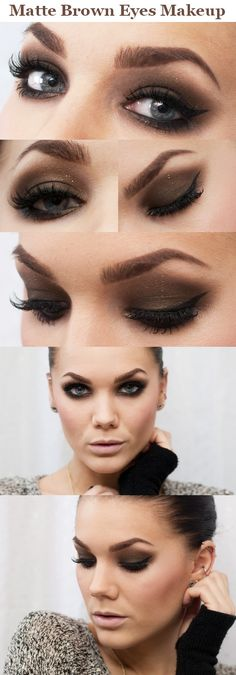 Matte brown eyes makeup.