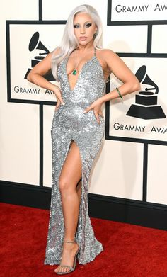 Lady Gaga arrives on the red carpet for the 57th Annual Grammy Awards