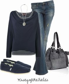 Casual Outfits | Blue and Grey  Phase jumper, BLANK jeans, Toms Classic shoes, JUICY COUTURE bag  by kaseyofthefields