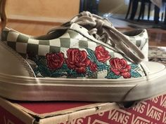 93f610dad5e0c4 Vans Old Skool 36 dx Rose Embroidery  fashion  clothing  shoes  accessories