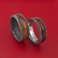 Matching Set Heritage Brown Hard Wood Damascus Steel Ring Wedding Bands
