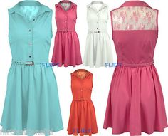 Womens Collar Sleeveles Lace Floral Top Ladies Button Belted Gather Skater Dress