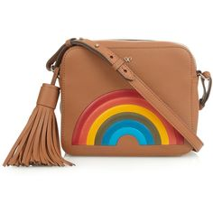 Anya Hindmarch Rainbow leather cross-body bag ($989) ❤ liked on Polyvore featuring bags, handbags, shoulder bags, brown crossbody, brown shoulder bag, brown leather shoulder bag, leather shoulder handbags and brown purse