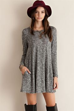 Heathered Long Sleeve Pocket Dress in Grey – ROUTE 32