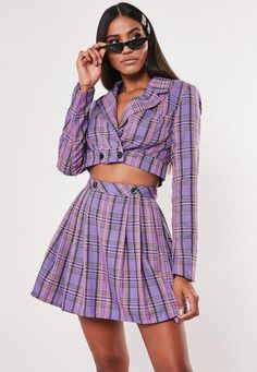Lilac Check Print Cropped Blazer Co Ord Stage Outfits, Kpop Outfits, Outfits For Teens, Trendy Outfits, Cute Outfits, Fashion Outfits, Fashion 2020, Look Fashion, Fashion Design