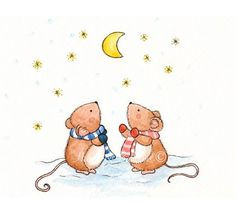 Cute Illustrations - Items similar to Sweet watercolour Mouse art print 5 x 7 Mice Dreaming Moon Stars Winter Snow Fun Love friends Boy Girl on Etsy