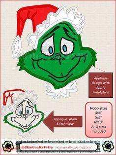 Dr Seuss Grinch Machine Embroidery Applique Designs 4x4 5x7 6x10 hoop