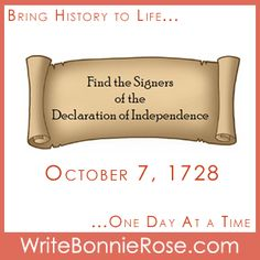 Timeline Worksheet October 7, 1728, Find the Signers of the Declaration of Independence Word Search