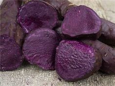 """Molokai Purple Sweet Potato, """"carbohydrates in sweet potatoes break down more slowly than white potatoes, releasing glucose gradually into the blood stream. Anthocyanin have also been shown to aid in the prevention of diabetes. The flesh is super sweet and creamy, perfect as is when baked or roasted"""" rareseeds.com"""