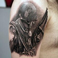 - Helmet Tattoo - 100 Military Tattoos For Men - Memorial War Solider Designs Military Gun And Helmet Tattoos For Men. Army Tattoos, Military Tattoos, Badass Tattoos, Sleeve Tattoos, Viking Tattoos, Flag Tattoos, Warrior Tattoos, Forearm Tattoos, Rose Tattoos