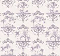 Rousseau Wallpaper A graceful 'cartouche' wallpaper in mauve featuring painted scenes of exotic palm trees and animals on a delicate off whi...