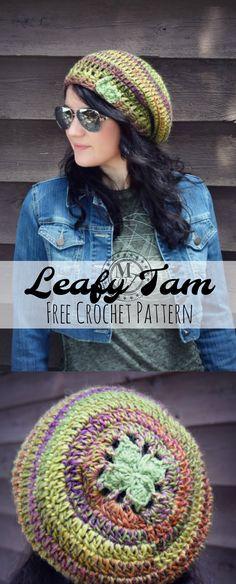 Leafy Tam free crochet hat pattern on Morale Fiber Blog