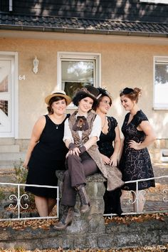 Unique same sex wedding in the German countryside with 'First Non-Look photos', the brides who made all the decorations including their own outfits and steampunk cake! Bridesmaids, Bridesmaid Dresses, Wedding Dresses, Steampunk Wedding, Vintage Diy, Wedding Men, Germany, Unique, Womens Fashion