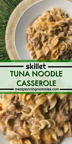 Skillet Lightened Up Tuna Noodle Casserole - Meal Planning Mommies Tuna Casserole, Noodle Casserole, Easy Casserole Recipes, Easy Tuna Recipes, Easy Meals, Healthy Recipes, Ww Recipes, Kid Meals, Fish Recipes