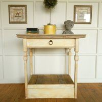 Painted Island with a concrete top and concrete inset molding on the edge of the counter top. Furniture, Concrete, Countertops, Small Kitchen Island, Small Kitchen, Table, Entryway Tables, Home Decor, Kitchen