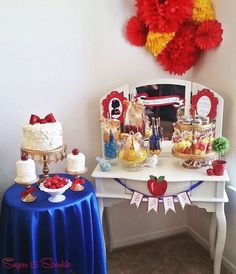 Treats and decorations at a Snow White princess party!  See more party planning ideas at CatchMyParty.com!