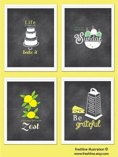Kitchen Wall Art, Inspirational Quotes, Funny Kitchen Signs, Chalkboard Inspired Prints, Set of four 8x10 art prints
