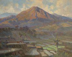 Dezentjé E.   Indonesisch landschap, olieverf op paneel 57,1 x 72,2 cm, gesigneerd r.o.
