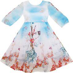 Girls Dress Butterfly Elegant Chinese Plum Flower Bamboo Blue Size Size for Girls 10 Years. Girls Pageant Dresses, Little Girl Dresses, Blue Wedding Dresses, Sequin Wedding, Plum Flowers, Everyday Dresses, Flower Dresses, Pattern Fashion, 6 Years
