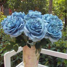 2016 Hot 1 Bouquet Único Big Fower Peônia Flores De Seda Artificial Festa de Casamento Decoração Da Casa Azul(China (Mainland))