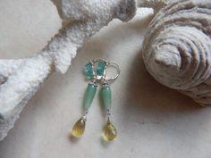 Boucles d'oreille, bijou, Mrs Mucha, argent 925 , pierres naturelles, pierres précieuses, aventurine verte, apatite, lemon : Boucles d'oreille par maferytale