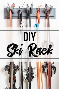 Get those expensive skis out of the corner of the garage and up on the wall with this DIY ski rack! Made with a couple scrap wood boards and a dowel! Garage Shelving, Garage Storage, Bike Storage, Backpack Storage, Table Picnic, Mode Au Ski, Ski Lodge Decor, Ski Rack, Chalet Interior