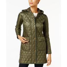 Barbour Tarn Quilted Hooded Puffer Coat ($279) ❤ liked on Polyvore featuring outerwear, coats, olive, olive green coat, barbour, olive green puffer coat, olive coat and army green coat