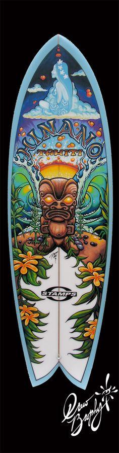 Hinano Tahiti Surfboard Painting Art (c) Drew Brophy